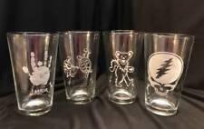Gift Set 4 Grateful Dead Jerry Garcia Deadhead Beer Pint Glass Engraved Bear LOT