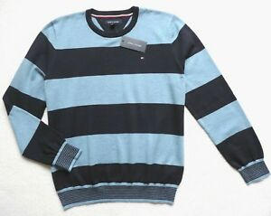 Tommy Hilfiger Men's Striped Crewneck Pullover Sweater, Blue, Size: L