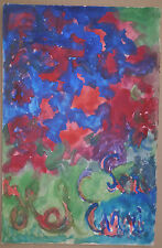 Gouache Tableau Abstraite 1972 HEL ENRI HELENE BERLEWI Art Naif Polonais #7