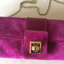 Emporio Armani Hot Pink Suede/Leather Clutch made in Italy