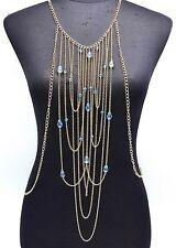 CV08 * Bijou Corps Collier Veste Multi-Chaînes Métal Perles Facettes Bleu - Doré