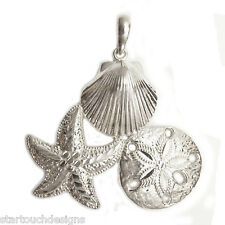 New .925 Sterling Silver Seashell Starfish Pendant