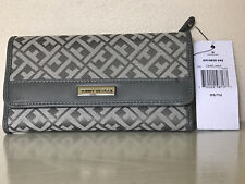 NEW! TOMMY HILFIGER GRAY CONTINENTAL CHECKBOOK CLUTCH PURSE WALLET $39 SALE