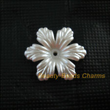 20Pcs White Plastic Acrylic Flower Leaf Spacer End Bead Caps Charms 24mm