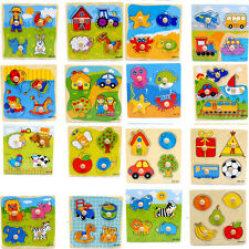 1 Pcs Wooden Puzzle Jigsaw Cartoon Kids Baby Educational Learning Puzzle Toys EV