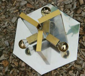Mid century SCIOLARI marked flush mount lamp chandelier mirrored metal 1960 n2