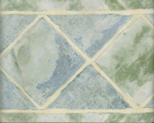 MODERN TILE LOOK LIGHT GREEN AND BLUE  DIAMONDS WALLPAPER BORDER