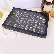 Hot 100 Rings Jewellery Display Storage Box Tray Show Case Organiser Holder Gift