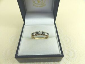9ct Gold Sapphire Ring Cubic Zirconia Eternity Hallmarked size K 1/2 gift box