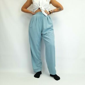 Vintage High Waisted Trousers Turquoise 26W 29L