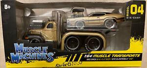 MAISTO MUSCLE MACHINES 1:64 MUSCLE TRANSPORTS MACK B-61 FLATBED OLDSMOBILE 442