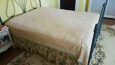 Vintage Chenille Bedspread beautiful Queen Size Yellow and White with fringe