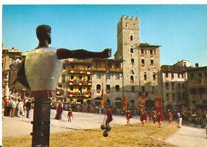 Cartolina AREZZO GIOSTRA DEL SARACINO ingresso in PIAZZA GRANDE anni '70