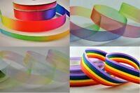 Rainbow / LGBT Grosgrain, Satin Organza Ribbon, Various Widths, Lengths & Rolls