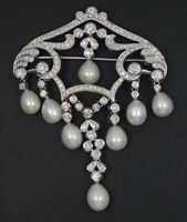 """ANTIQUE ART DECO  2.4 TCW DIAMOND & PEARL SOLID 18K WHITE GOLD BROOCH 3""""/ 33.9g"""