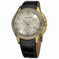 New Women's Akribos XXIV AK615YG Chronograph Crystal Bezel Black Leather Watch
