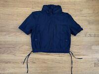 NWT TOPSHOP Women sz 14 navy hooded shortsleeve zip jacket
