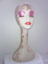 Hand Painted White Long Neck Styrofoam Mannequin Head Display, 19 inches Tall ,