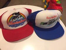 Lot of 2 Sea World & MarineLand Water Park Trailer Mesh Back Snap Back Hats