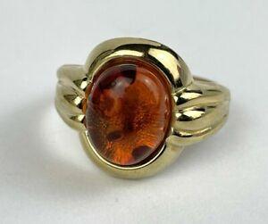 Bernstein- Ring 333 Gold Antikschmuck Ø 16 mm, Gr. 50 Damenring