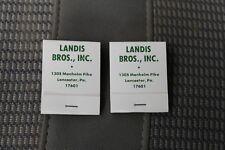 2 pc Landis Brothers Equipment Sale Matchbook  Advertising John Deere Lancaster