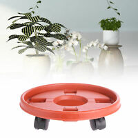 qazwsx Round Wooden Plant Pot Trolley Large Plant Pot Mover Dolly Garden Flower Pot Stand on Wheels Heavy Duty Plant Pot Caddy on Wheels Plant Pot Saucers with Wheels Indoor 30 brown