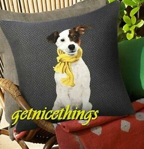 New Iosis Yves Delorme Jack Russell Dog French Tapestry Decorative Pillow Cover