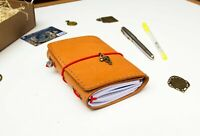 Trifold Passport Size Travelers Leather Notebook with Three Inserts