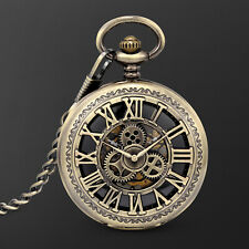 Design Roman Numeral Hollow Retro Dress Mechanical Pocket Watch Bronze Case Gear
