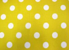 "YELLOW + WHITE 1"" POLKA DOTS SPRING SUMMER FASHION SEW CRAFT DECOR FABRIC BTHY#"