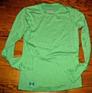 Under Armour fitted heat gear compression shirt athletic wear youth L large gree