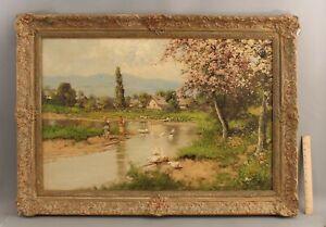 Large LASZLO NEOGRADY Hungary Impressionist Landscape & Ducks Oil Painting NR