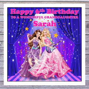 KIDS BARBIE BIRTHDAY CARDS - personalised with any AGE RELATIONSHIP & NAME