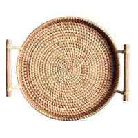 Rattan Bread Basket Round Woven Tea Tray with Handles for Serving Dinner Pa E1Y1