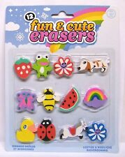 Fun & Cute Novelty Erasers Pony Butterfly 12pc Set Kids Rubbers Stocking Filler