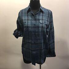 Lauren Ralph Lauren Petite Navy Blue Plaid 100% Linen Long/Short Sleeve Blouse S