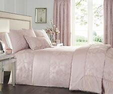 DOUBLE BED DUVET COVER SET KATHERINE ROSE PINK LUXURY WOVEN JACQUARD BEDDING