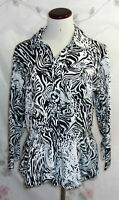 Harve Benard Womens XL Black White Leopard Print 3/4 Sleeve Button Up Top