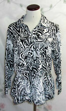 Harve Benard Womens Size XL Black White Leopard Print 3/4 Sleeve Button Top