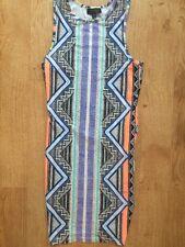 Topshop Aztec Muti Coloured Black Purple Blue Orange White Bodycon Club Dress