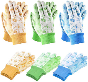 Seuroint 6 Pcs Garden Gloves, Yard Working Gloves Pvc Dots Cotton Gloves