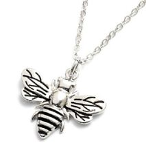 Cute Detailed Bumble Bee Pendant & Chain Silver Necklace