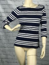 Old Navy Womens Blue Striped 3/4 Sleeve Shirt Top Classic Neckline Size Small