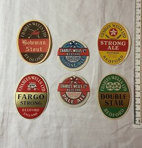 6 OLD CHARLES WELLS BREWERY BEDFORD STRONG ALE STOUT ETC BEER LABELS LOT 110