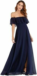 Ever-Pretty Womens Off The Shoulder Ruffle Party Dresses Side, Navy, Size 8.0 3R