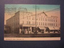 Old Vintage 1914 Robinson Illinois Postcard Woodworth Hotel