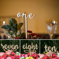 EG_ 10 PCS ONE-TEN WOODEN TABLE NUMBERS ON STICKS FOR WEDDING PARTY DECORATION W