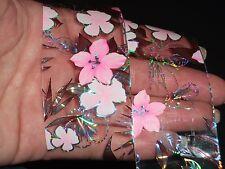 UK 2017 1M PINK FLOWER NAIL ART TRANSFER FOILS MANICURE WRAPS STICKERS POLISH