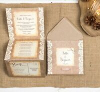 Rustic Wedding Invitation - Lace Double-Folded (portrait)