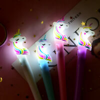 4Pcs Cartoon LED Unicorn Ballpoint Pen Gel Pens School Stationery Writing Tools